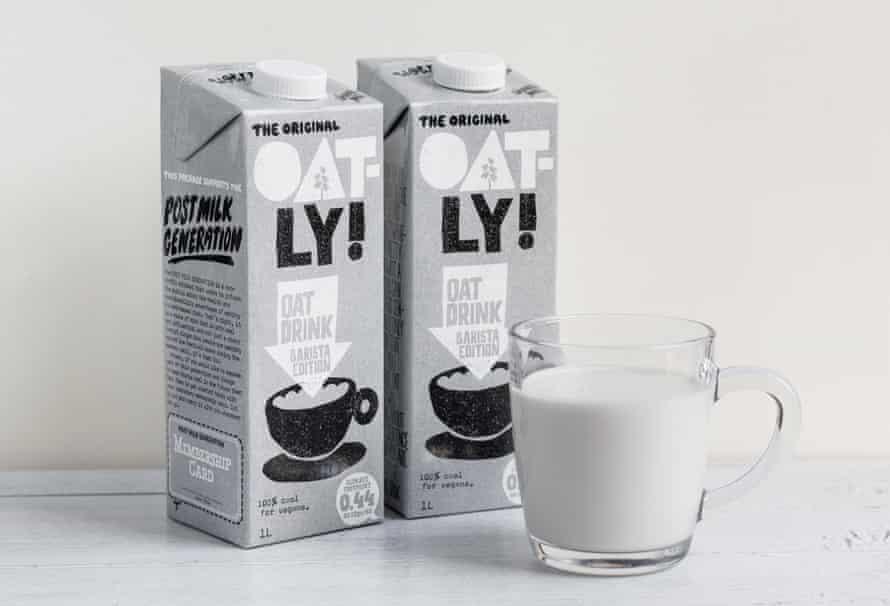 Two cartons of oat milk brand Oatly