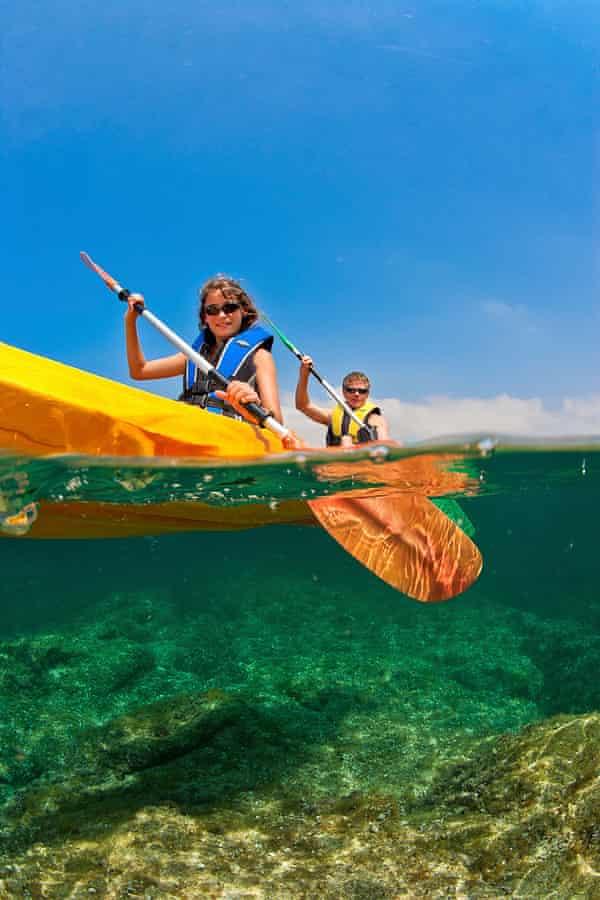 France, Corsica, Algajola, Mediterranean sea, Haute-Corse, Balagne, balagne region, algajola village, kayak