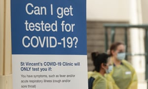 A pop-up coronavirus testing clinic opens at Bondi Pavilion in Sydney. Photograph: Mark Metcalfe/Getty Images
