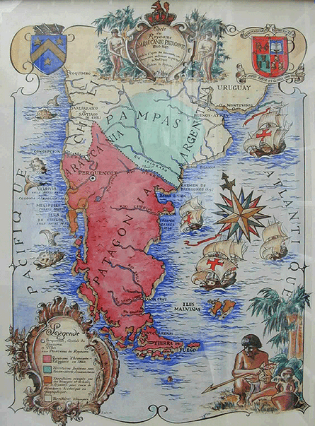 A map , supposedly from 1860, which shows the geographical reality of the Mapuche nation at the time of the foundation of the Kingdom of Araucania and Patagonia.
