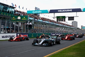 Lewis Hamilton started the Australian GP smoothly from pole position.