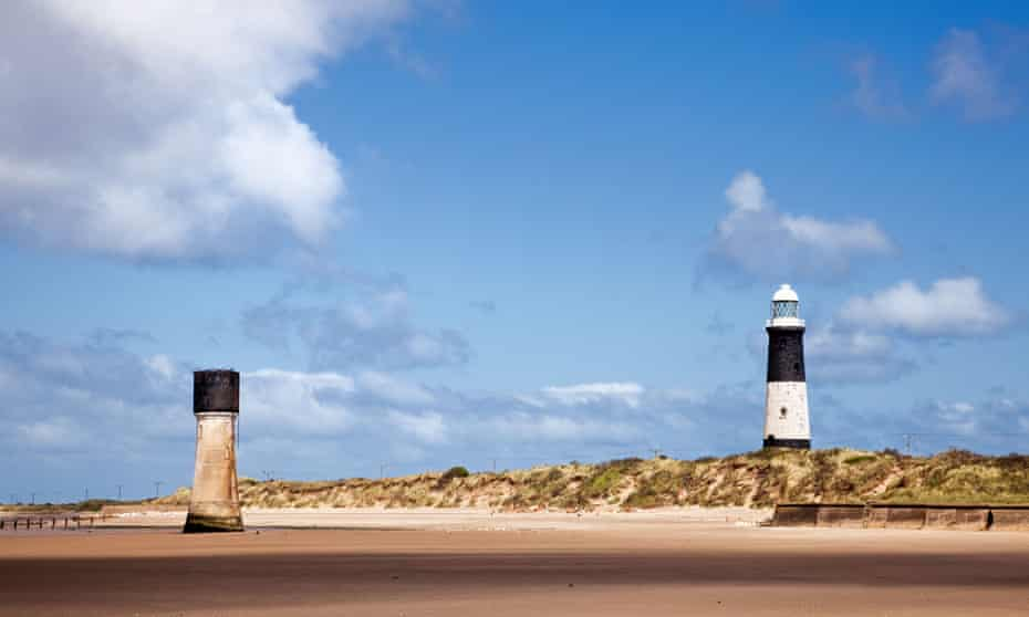 Old Spurn Point Low Light and the newer Lighthouse at Spurn Head, East Yorkshire, England UK.