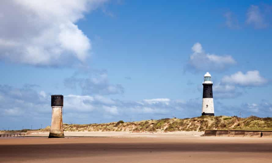 Old Spurn Point Low Light and the newer lighthouse at Spurn Head, East Yorkshire