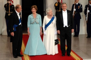 George W Bush and wife Laura hosted a banquet for the Queen at the White House in 2007
