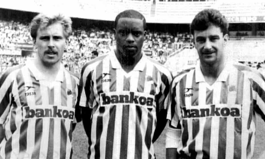 (From left): Kevin Richardson, Dalian Atkinson and John Aldridge during their one season together at Real Sociedad in 1990-91.