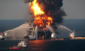 The Deepwater Horizon oil rig ablaze in the Gulf of Mexico, April 2010