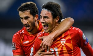 North Macedonia's Eljif Elmas (right) celebrates with Stefan Spirovski after scoring their second goal against Germany.