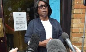 Sentina Bristol, the mother of Dexter Bristol, outside St Pancras coroner's court in London