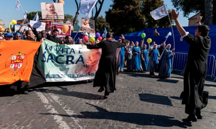 Activists in Rome participate in the national march for life