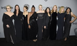 Solidarity in black at the 2018 Golden Globes, as the #MeToo movement began to influence what women wear.