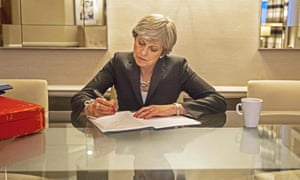 Theresa May prepares her conference speech in her hotel room at the Manchester Central Convention Centre.