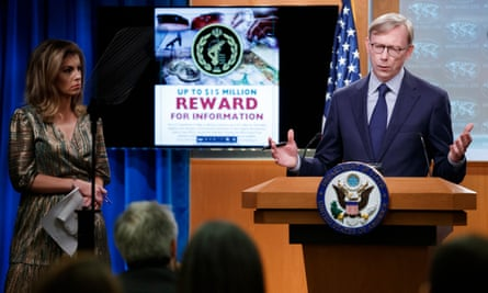 The US special representative for Iran, Brian Hook, outlines a reward of up to $15m for information leading to the disruption of the financial mechanisms of Iran's Islamic Revolutionary Guard Corps.