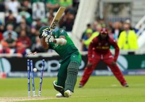 Wahab Riaz of Pakistan is bowled by Oshane Thomas.