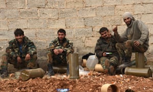 Fighters rest in Aleppo
