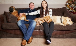 Richard Remde and Laura Jacques with their dogs