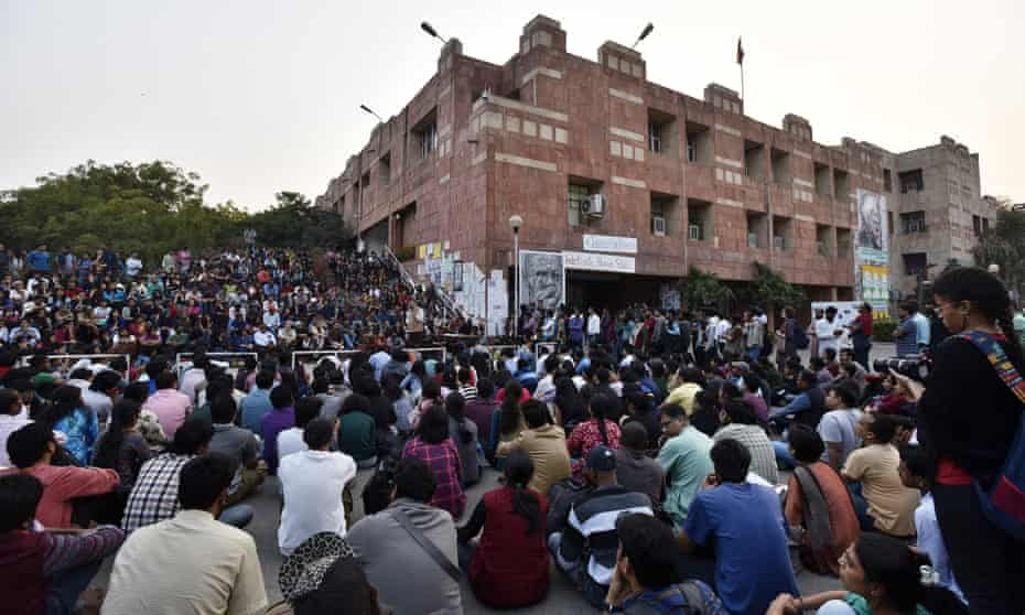 Students protesting against the arrest of union president Kanhaiya Kumar at the JNU campus in February 2016.