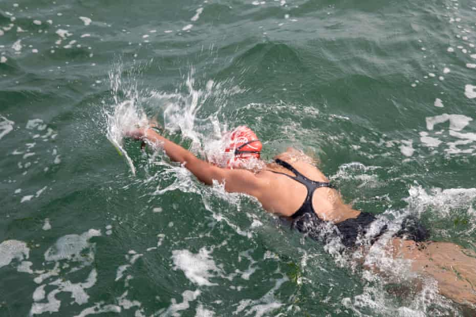 Amelie's third swim, in rougher seas with the tide against the wind