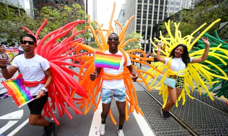 Some of the colours of the rainbow at 2015's San Francisco Pride