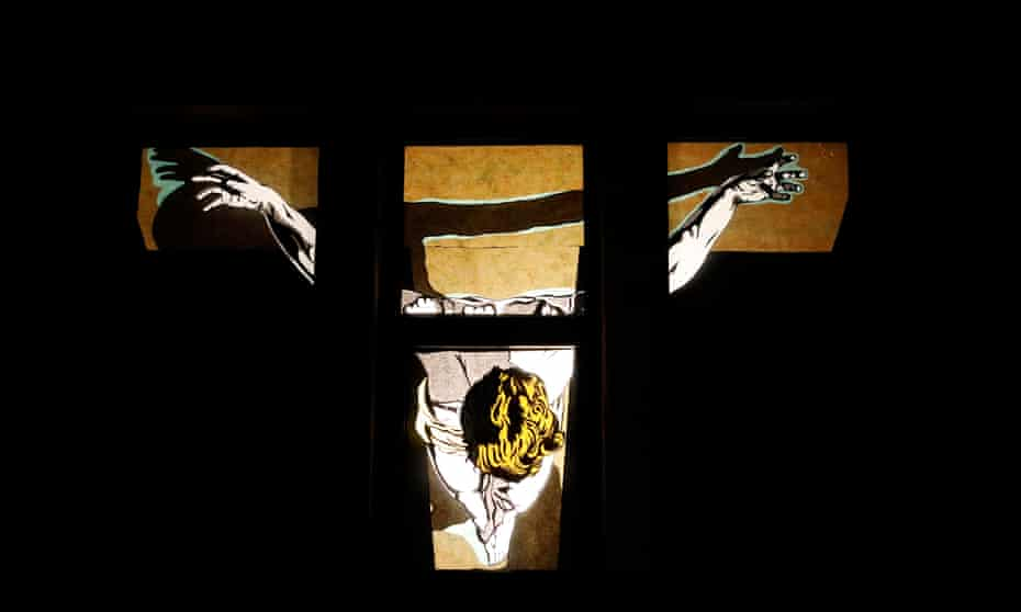 Window display of Salvador Dali's Christ of Saint John of the Cross.