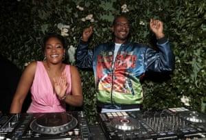 Tiffany Haddish and Snoop Dogg on the decks at the Amazon post-show celebration