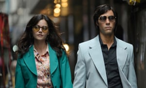 Laminated look … Rahim as Charles Sobhraj and Jenna Coleman as his accomplice in The Serpent.