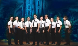 Phyre Hawkins as Mrs. Brown, Ryan Bondy as Elder Price and A.J. Holmes as Elder Cunningham in The Book of Mormon