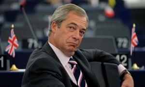 Nigel Farage in the European parliament in Strasbourg.