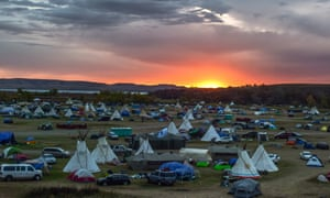 First sunrise begins to creep onto Oceti Sakowin Camp, October 19th, 2016.