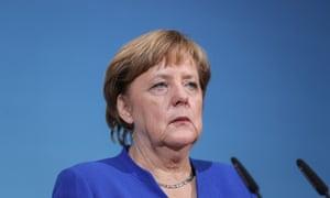 Angela Merkel speaking after coalition talks in Berlin