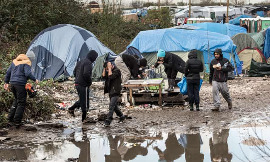 Refugees in the Jungle camp.