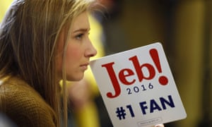 A Jeb Bush supporter listens as the candidate speaks in Amherst, New Hampshire.