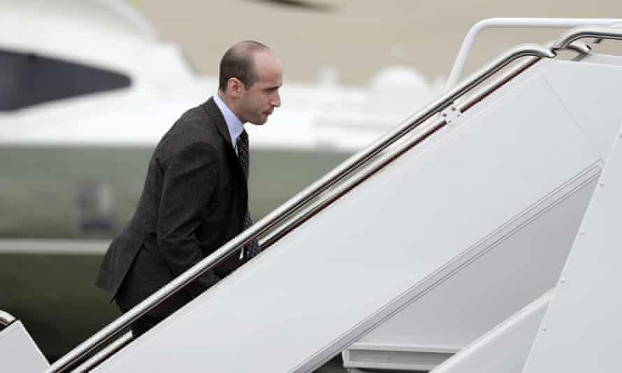 Stephen Miller, Donald Trump's White House senior adviser boards Air Force One.
