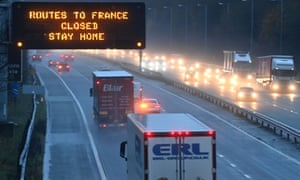 A sign on the M56 motorway in north-west England informs drivers that all routes into France are closed