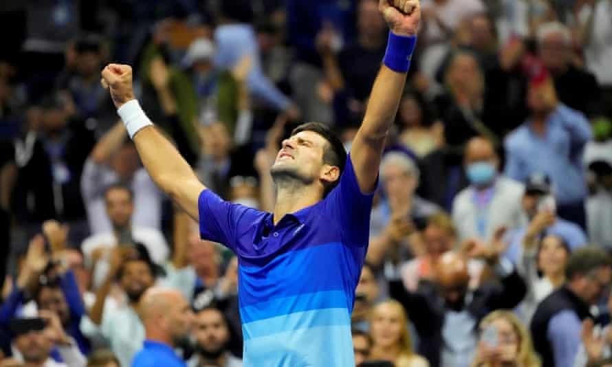 Novak Djokovic celebrates after his semi-final victory against Alexander Zverev