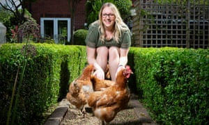 Charlotte Pacey with her rescue hens.