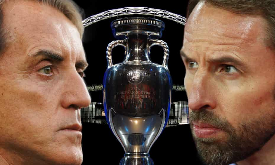 Roberto Mancini and Gareth Southgate will lead their teams in Sunday's final.