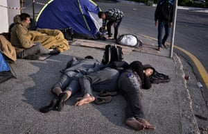 Afghan refugees sleep on the streets of  Mytilene, the capital and port of Lesbos.