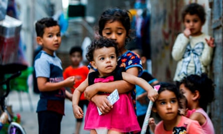 Children at the al-Shati camp for Palestianian refugees in the Gaza Strip