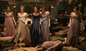 Bella Heathcote, Suki Waterhouse, Lily James, Ellie Bamber and Millie Brady in Pride and Prejudice and Zombies.