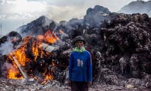Imported plastic dumpsite in Mojokerto, East Java, Indonesia