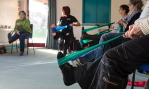 Multiple sclerosis patients receiving occupational therapy from a professional instructor