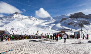 Large group of skiers gathered at Idalp, Ischgl, Austria.