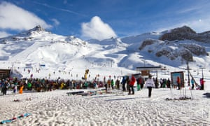 Large group of skiers gathered at Idalp, Ischgl, Austria