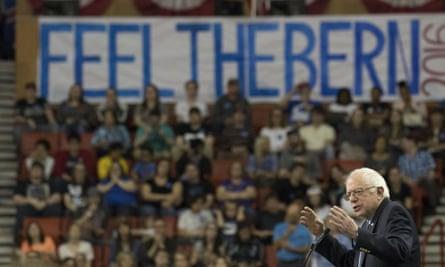 Bernie Sanders at a campaign rally In Oklahoma City, February 2016.