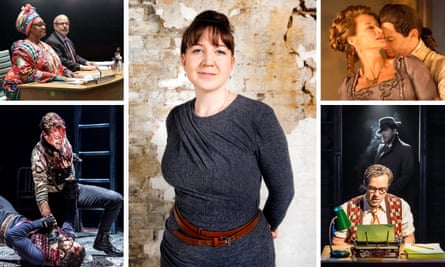 Trailblazer … Josie Rourke and, clockwise from top left, the Donmar productions of The Committee, Les Liaisons Dangereuses, City of Angels and Coriolanus.