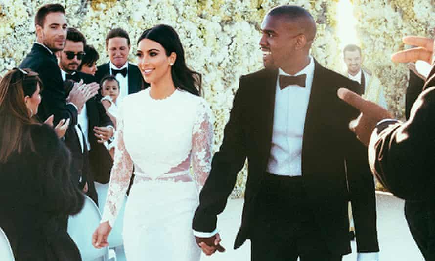 Kim Kardashian and Kanye West at their wedding