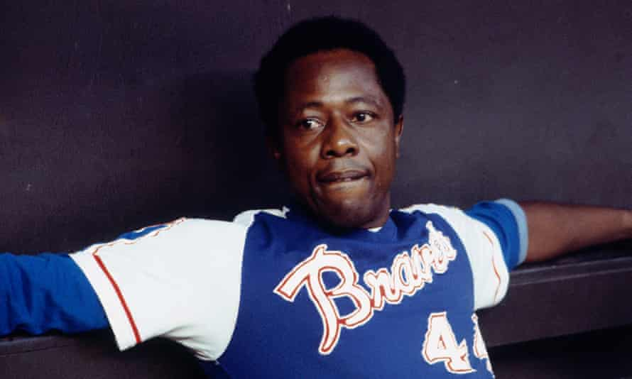 Hank Aaron in 1970, still with the Braves logo on his shirt, but now at Atlanta, to where his team had moved.