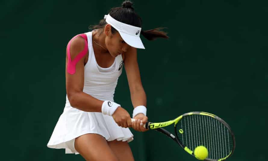 Raducanu playing a girls singles match at Wimbledon in 2017