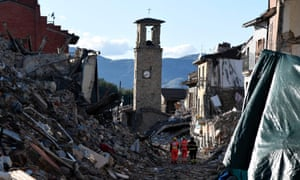 The rubble-strewn streets of Amatrice after the 6.2-magnitude earthquake, which killed 298 people.
