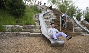 man on slide on governor's island